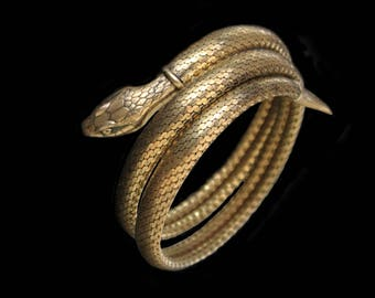 MoonsCuriousItems -Beautiful Art Deco Gold Scaley Snake Serpent Bracelet, Detailed Head,Tail & Scales