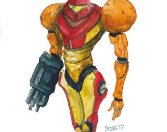 Metroid- Print of my original illustration Super Metroid Gaming Videogames Gamer