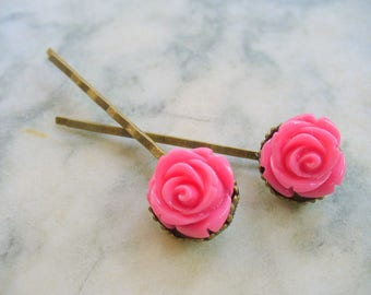Pink Rose Hairpins, Antique Brass, Crown Hair Clips, Hair Accessories, Flowers, Bobby Pins, Weddings
