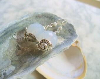 Sea Shell Earring, Milky White Glass Dangle Earring, Multi Faceted Glass Beads, Beach Earring, Milk Glass Earrings, Shiny Silver Jewelry