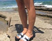 Leather Sliders - Espadrilles Platform Sandals - Silver Flatform Sandals - Open toe sandals