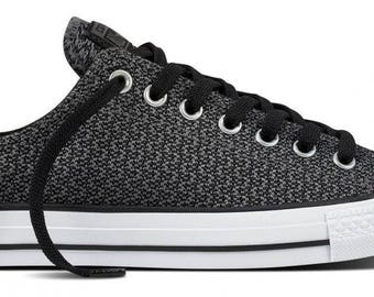 Converse Low Top Black Gray White Static Knit woven crochet Custom w/ Swarovski Crystal Rhinestone Mens Chuck Taylor All Star Sneakers Shoe