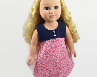 Denim and Pink Country Dress - Made to Fit 18 Inch Dolls Like AG Doll Clothes