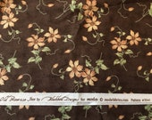 DESTASH Fabric - 2 yards Peach Flowers with Green Leaves on Brown Background Old Primrose Inn by Blackbird Designs for Moda Patt#2641