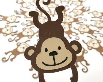 MONKEY Die Cuts (Set A) Hanging Monkeys CHOOSE your SIZE Jungle Birthday Safari Party Decor diecuts toppers Baby Shower embellishment