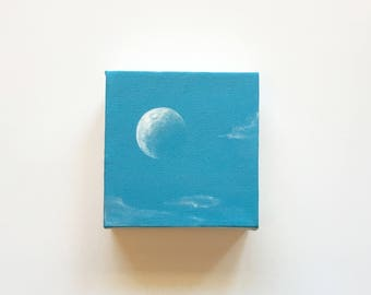 Blue Sky's + Full Moon | Original Acrylic Painting | 4x4 Inches | By Janelle Anakotta