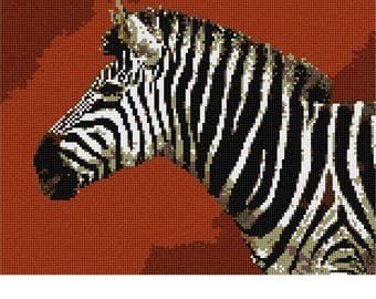 Needlepoint Kit or Canvas: Zebra Up Close