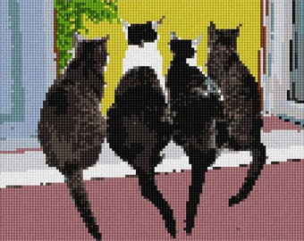 Needlepoint Kit or Canvas: Cats In A Row