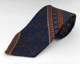 Vintage 1970s Wide Blue Polyester Tie with Brown and Red Pattern by Wembley