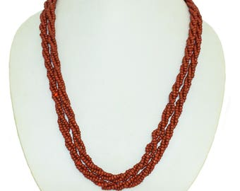 Natural Maroon Coral Stone beaded Necklace