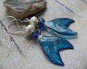 RESERVED FOR NIKI - Mermaid Tails - artisan blue silver pearl resin mermaid tail romantic beach earrings