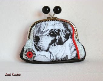 Great retro purse black and white leather and dogs pattern fabric