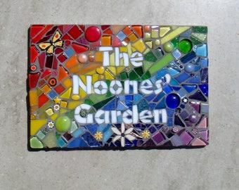 Mosaic Garden Sign, personalised plaque, Garden decoration, bespoke garden name plaque, Garden ornament, Yard sign, yard ornament