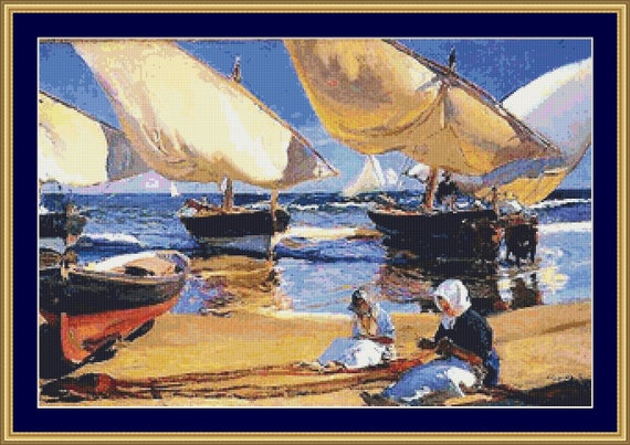 On The Beach At Valencia II Cross Stitch Pattern /Digital PDF Files /Instant downloadable