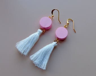 White and pink tassel earrings/tassel/quirky earrings