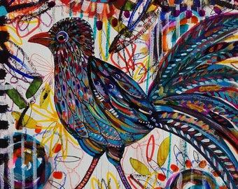 Bird Painting Bird Art Bird Drawing Blue Bird Nature Bird Flowers Original Art Home Decor Contemporary Art Bird Wall Art Bird Fine Art Cute