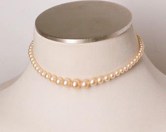 Vintage Graduated Faux Pearl Choker Necklace