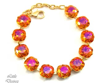Gold Bracelet Crystal Bracelet Orange Pink Jewelry Swarovski Astral Pink 12mm Cushion Cut Hot Pink Orange Jewelry Statement Jewelry AP50BR