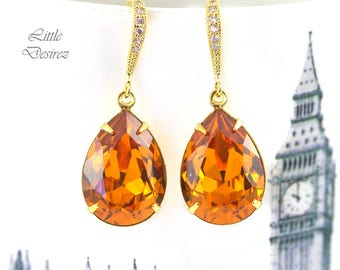 Swarovski Topaz and Gold Earrings Amber Earrings Rhinestone Earrings 16k Gold Plated Hypoallergenic Teardrop Earrings Bridesmaid Gift TO31H
