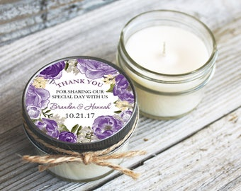12 - 4 oz Wedding Favor//Floral Wreath Favor//Soy Candle//Personalized Bridal Shower Favor//Shower Favor//Candle Favors//Thank you gift