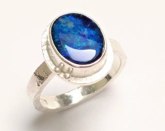 Ring in sterling silver and blue Opal, handmade, unique jewelry