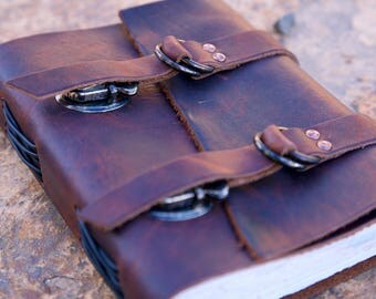 "Explorers Leather Journal - Brown - Diary - Notebook - Sketchbook - 5""x6"""