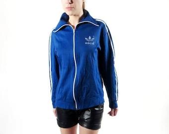 SALE Vintage Adidas / 70s Adidas / Adidas Trefoil / Adidas Track Jacket / Medium Adidas / Blue Adidas / Retro Adidas / Bob Marley / Man Adid