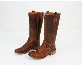 SALE Size 41 Boots / Brown Leather Boots / Vintage Boots / Woman Boots / 90s Boots / Leather Boots / Riding Boots / Emma Boots