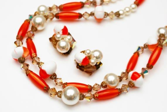 orange white  bead necklace earring set  - Lucite  plastic - crystal  glass - pearls - Mid century