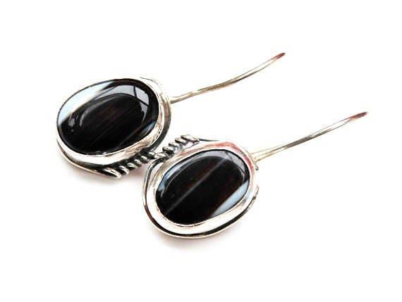 Black white Gemstone Sterling drop earrings - Agate - Zebra stone - Silver dangle earring