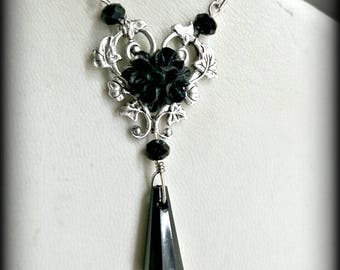 Black rose and antique silver vine glass crystal necklace.