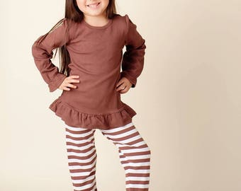 SALE & Ready To Ship 2t Big Ruffle Brown White Stripe Girls Pants Perfect for Christmas St. Pattys Cute Matches Applique Shirts