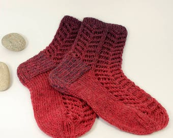 Hand knitted  women's lace socks, Knitted ladies socks, Knitted lace socks