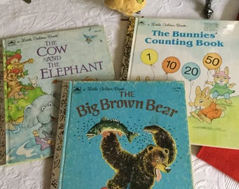 Set of a Three Vintage Little Golden Books Children's Reading/Story-Brown Bear/Bunnies Counting/Cow & Elephant
