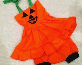 Halloween, pumpkin face, dress, Shorties, cotton diaper cover,  nb, size 3, 6, 9, 12, 24 months, 2T