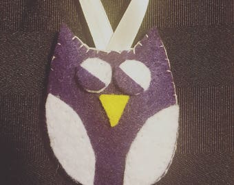 Owl Felt Ornament - Purple