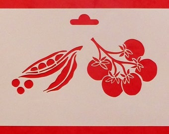 Stencil with vegetables, tomatoes, cherry and small polka dots