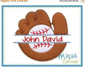 50% Off Baseball and Glove Split applique digital design for embroidery machine by Applique Corner
