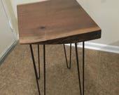 Live Edge Table, Walnut Table, Wood End Table, Display Table, End Table, Minimalist Table