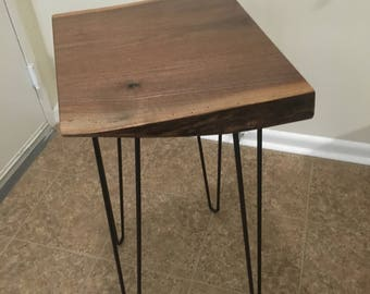 Live Edge Table, Walnut Table, Wood End Table, Display Table, End Table, Minimalist Table