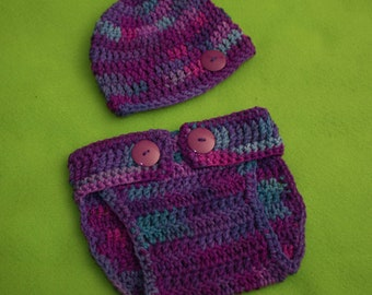 Hat and diaper cover set.  Size newborn to 3 months.