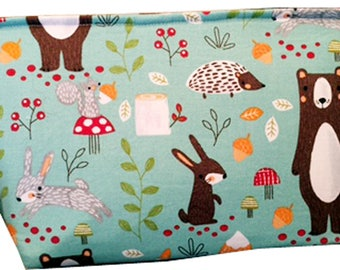 """Wedge """"Woodland Creatures"""" Cosmetic/Accessory Bag"""