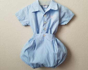 Vintage 1950s Girls Blue Romper Playsuit by Diaperette A Jetmore Tog- Size 6 months- Gently Worn