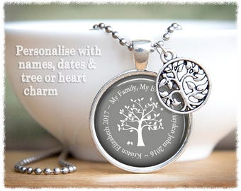 Personalized Jewelry • Tree Of Life Necklace • Mom Jewelry • Grandmother Gift • Name Necklace • Personalized Family Tree