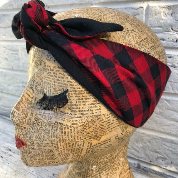 Black and Red Checked Headscarf Rockabilly Pinup 1950's inspired