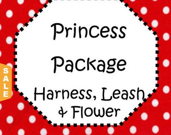 Puppy Love Sale - 40% Off Traditional Harness, 6 FT Leash & Flower Package - Fabric - Available in all Dog Collar Listings