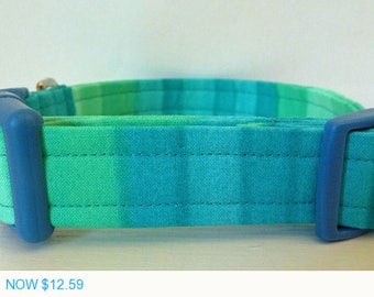 "Sale - 40% Off Modern Dog Collar - Shades of Blue and Green Striped Collar - ""Joshua"""
