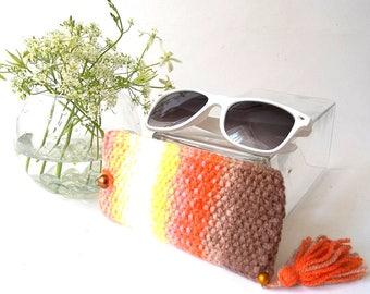 SALE - 25% Off! Orange Glasses Case. Reading Glasses Case. Knit Sunglasses Holder. Knitted Eyeglasses Case.