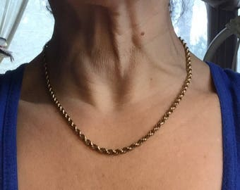 Vintage Gold Rope Chain Gold Filled 18 inch Twisted Rope Choker Necklace