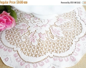 sale vintage crochet table coverpink and off white round table covershabby chic